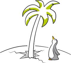 Logo Südpol Verlag: Pinguin mit Palme