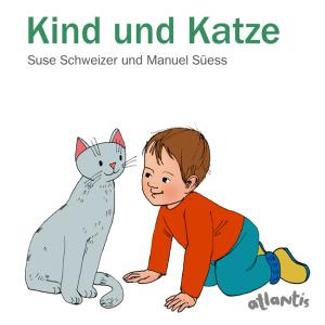 Kind und Katze verbringen gemeinsam den Tag . Papp-Bilderbuch für die ganz Kleinen
