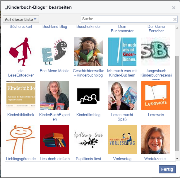 Kinderbuch-Blogs auf Facebook - Interessenliste als Blogroll