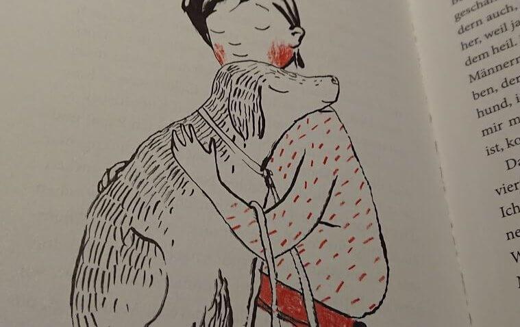 Illustration von Ulrike Möltgen aus dem Kinderbuch Bluma und das Gummischlangengeheimnis: Bluma und der Hund Flocki