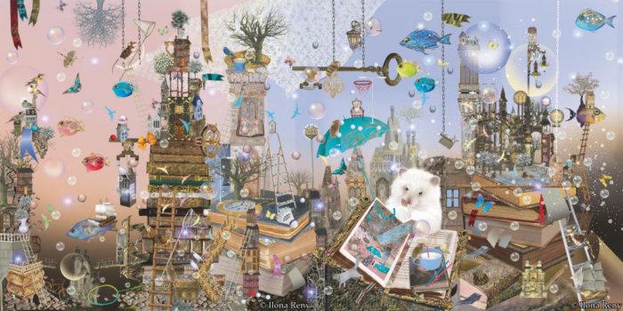 Innenseite aus dem Bilderbuch Thomas und das Meer. Der Hamster blättert durch die Erinnerungen seines Opas, der als einziger Hamster auf einem Piratenschiff mitfuhr.
