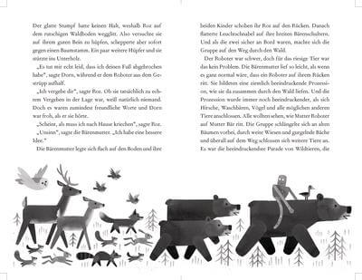 Doppelseite aus dem Kinderbuch: Das Wunder der wilden Insel. Der Roboter Roz mit allen Tieren.