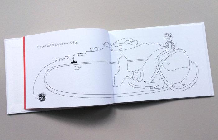 Doppelseite aus dem Bilderbuch von Silke Antelmann: Für den Wal 'nen Schal