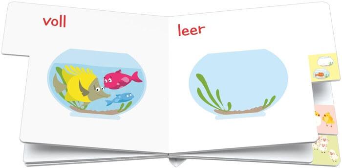 Leer - voll. Doppelseite aus dem Pappbilderbuch Gegensätze