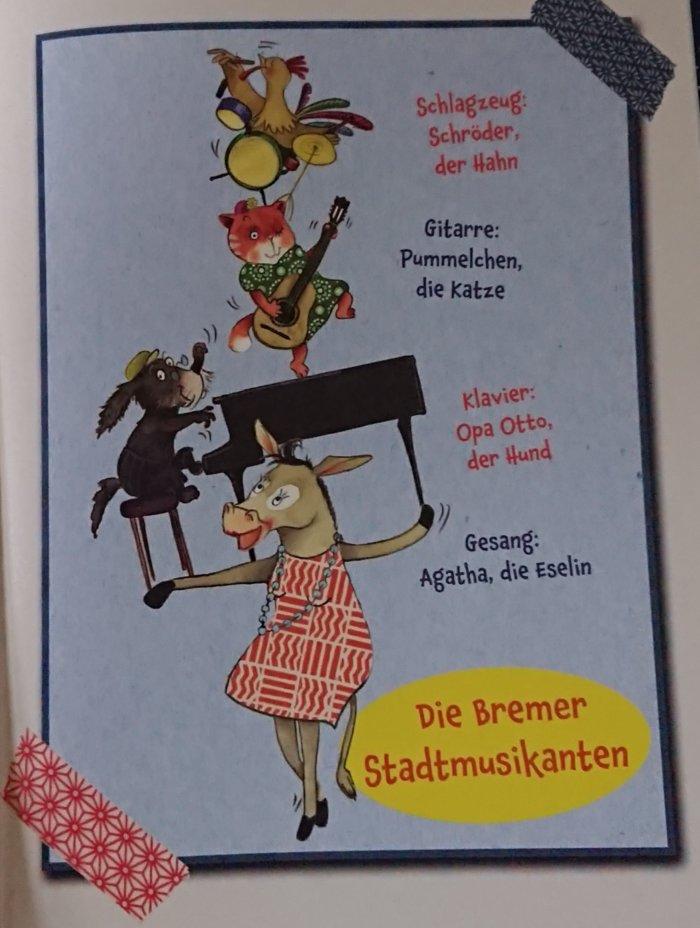 Die Bremer Stadtmusikanten, gezeichnet von Katja Jäger. Eine vitale Rentner-Gang.