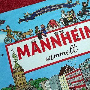 Laufrad und Spaghetti-Eis - beides wurde in Mannheim erfunden. Detail aus dem Wimmelbilderbuch Mannheim