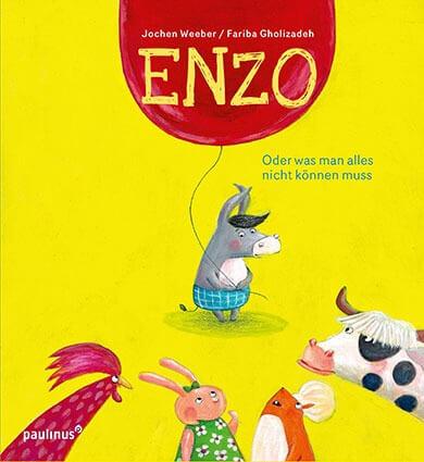 Bilderbuch-Cover: Esel Enzo mit rotem Luftballon auf knallgelbem Hintergrund